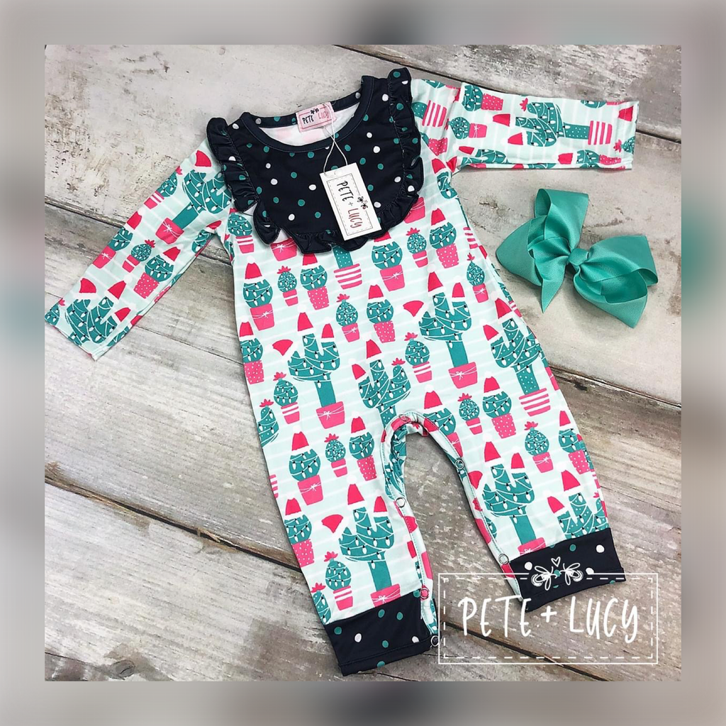 Pete + Lucy: Winter Cactus Baby Romper - Whim & Wonder Boutique