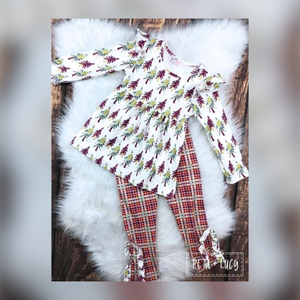 Plaid + Trees Two Piece Pant Set for Girls - Whim & Wonder Boutique