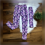 Load image into Gallery viewer, Grey & Purple Roses Leggings