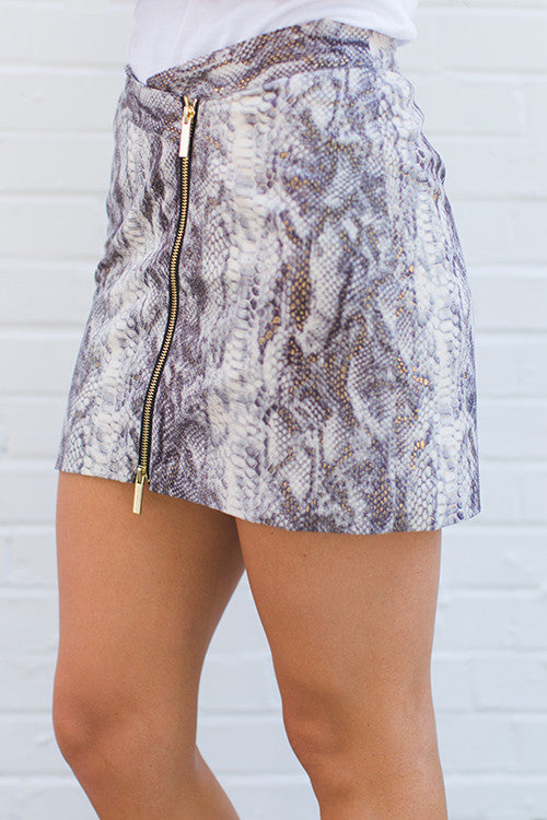 Whitney Eve Snakeskin Mini-Skirt