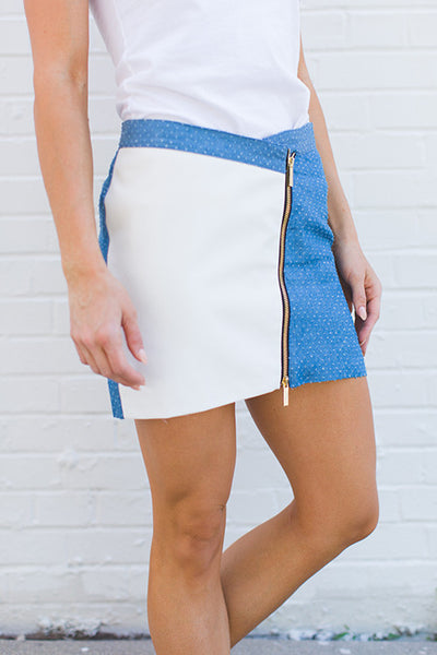 Whitney Eve Denim & Faux Leather Skirt