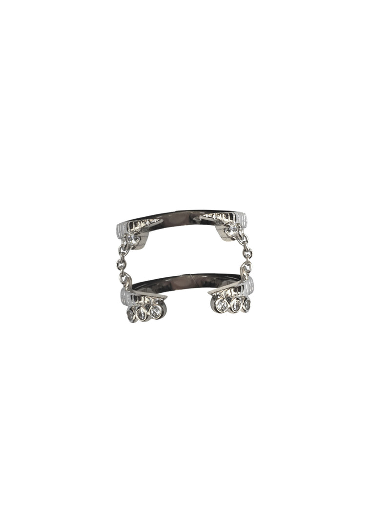 ADRIA Double Ring with Chain · Gold · Silver ·