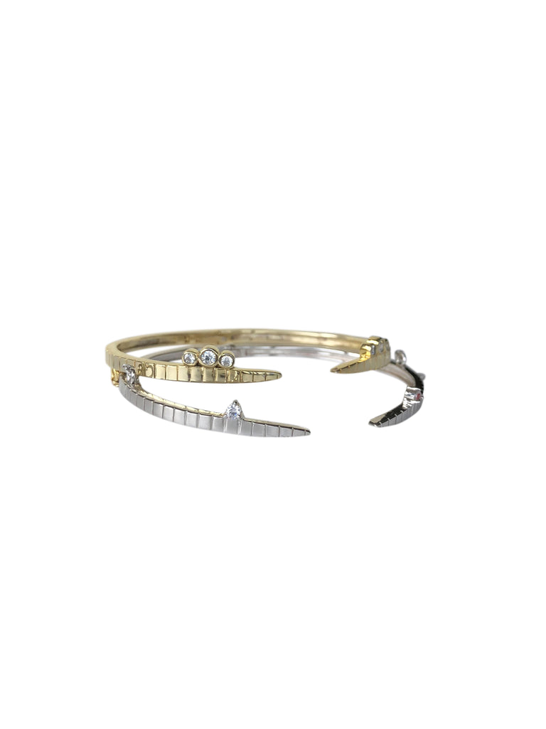 CHRIS Twin Bangles with Chain · Gold ⁺ Silver
