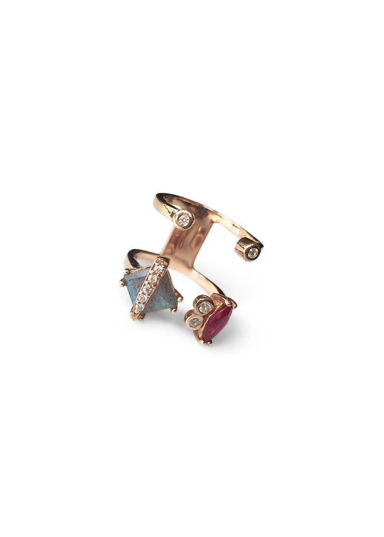 KIA Ruby ⁺ Labradorite Ring · Rose Gold ·