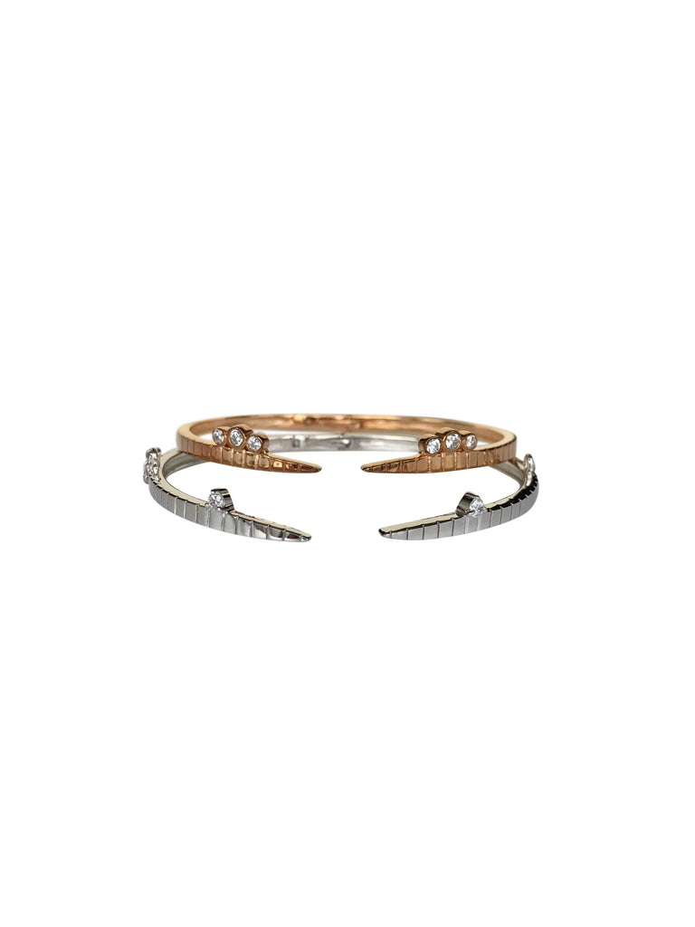 CHRIS | Twin Bangles with Chain | Rose Gold