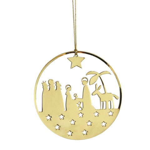 Shiny Hanging Decor Nativity Gold