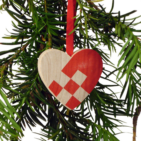 Heart hanging checkered Red/Natural