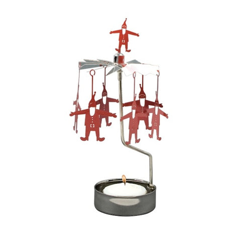 Rotary Candle Holder Santa Red/Silver