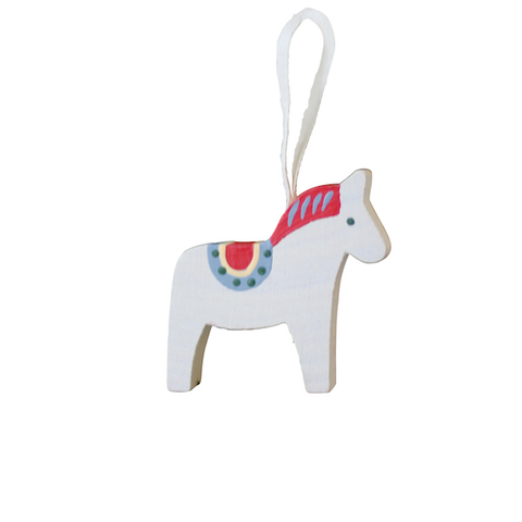 Horse Dala painted hanging decor White/Red