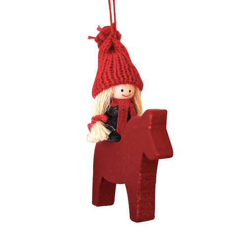 Santa Girl on Dalahorse hanging