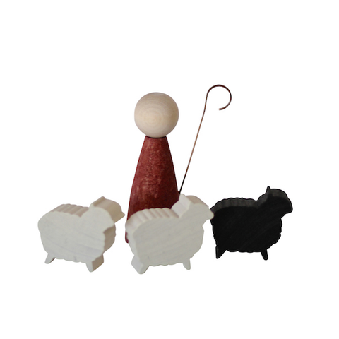 Shepard with three sheep
