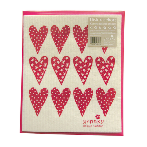 Dishcloth Card Hearts