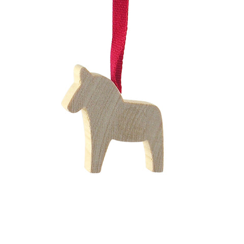 Horse Dala Mini hanging decor Natural/Red