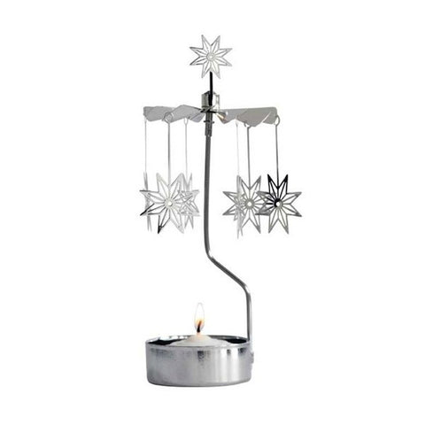 Rotary Candle holder Star 8 Pointed silver