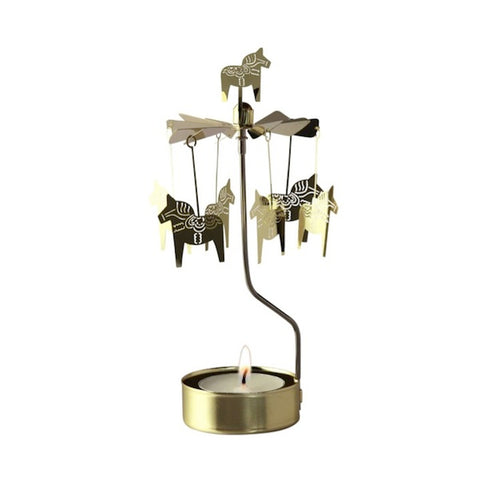 Rotary Candle Holder Horse Gold