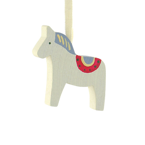Horse Dala painted hanging decor White/Blue