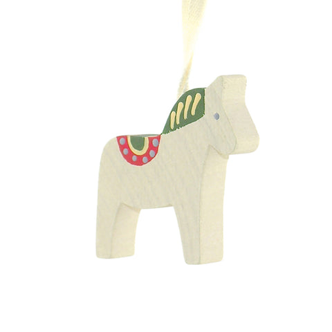 Horse Dala painted hanging decor White/Green