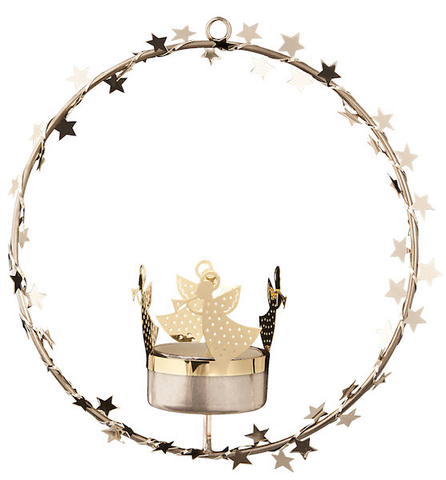 Hanging Wreath Tea Light holder Gold