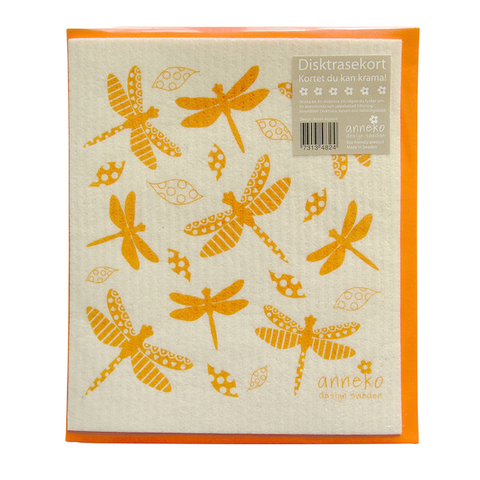 Dishcloth Card Dragonfly Orange