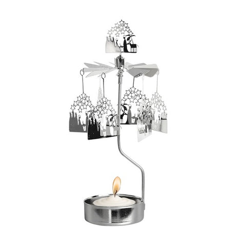 Rotary Candle Holder Nativity Silver