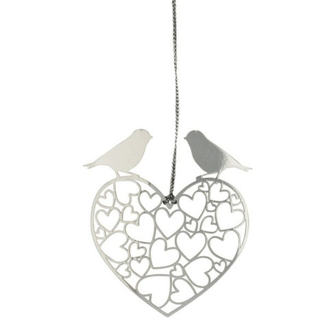 Decor Hanging Love Birds Silver