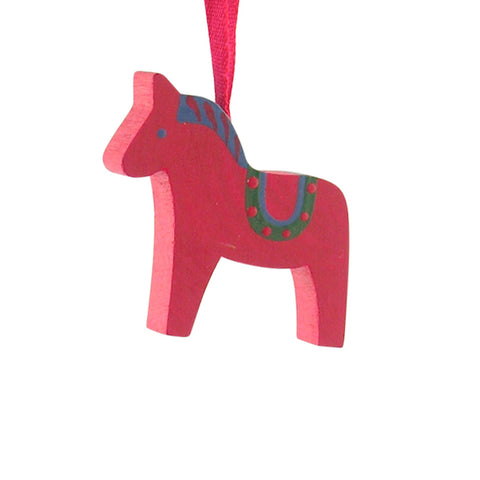 Horse Dala painted hanging decor Red/Green