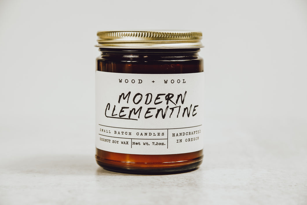 Coconut Soy Wax Candle with Wood Wick | Modern Clementine