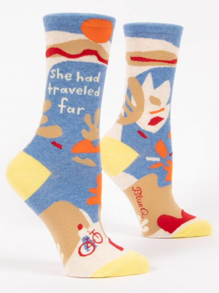 SHE HAD TRAVELED FAR CREW SOCKS by Blue Q