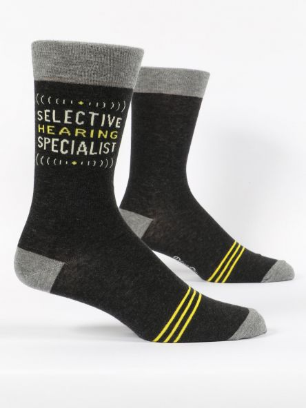 SELECTIVE HEARING MEN'S-CREW SOCKS by Blue Q