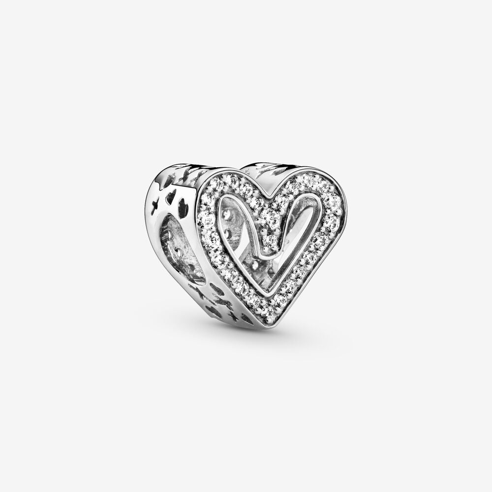 Sparkling Freehand Heart Charm by Pandora