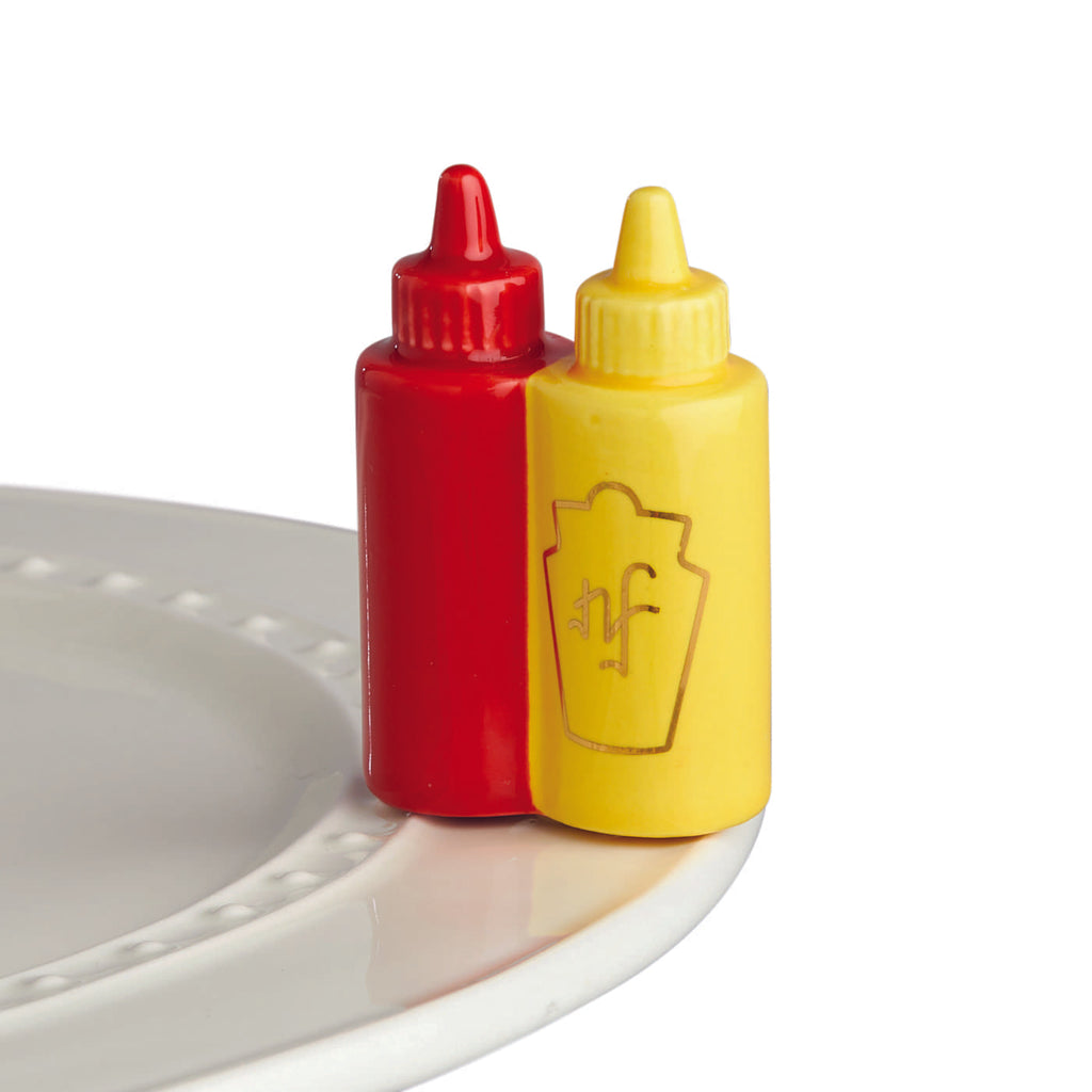 Main Squeeze Ketchup & Mustard Mini Knob by Nora Fleming