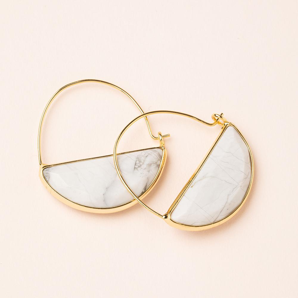 White Howlite Hoop Earrings