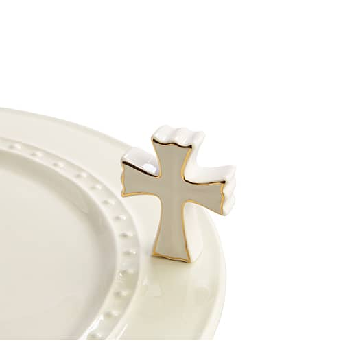 White Cross Mini Knob by Nora Fleming