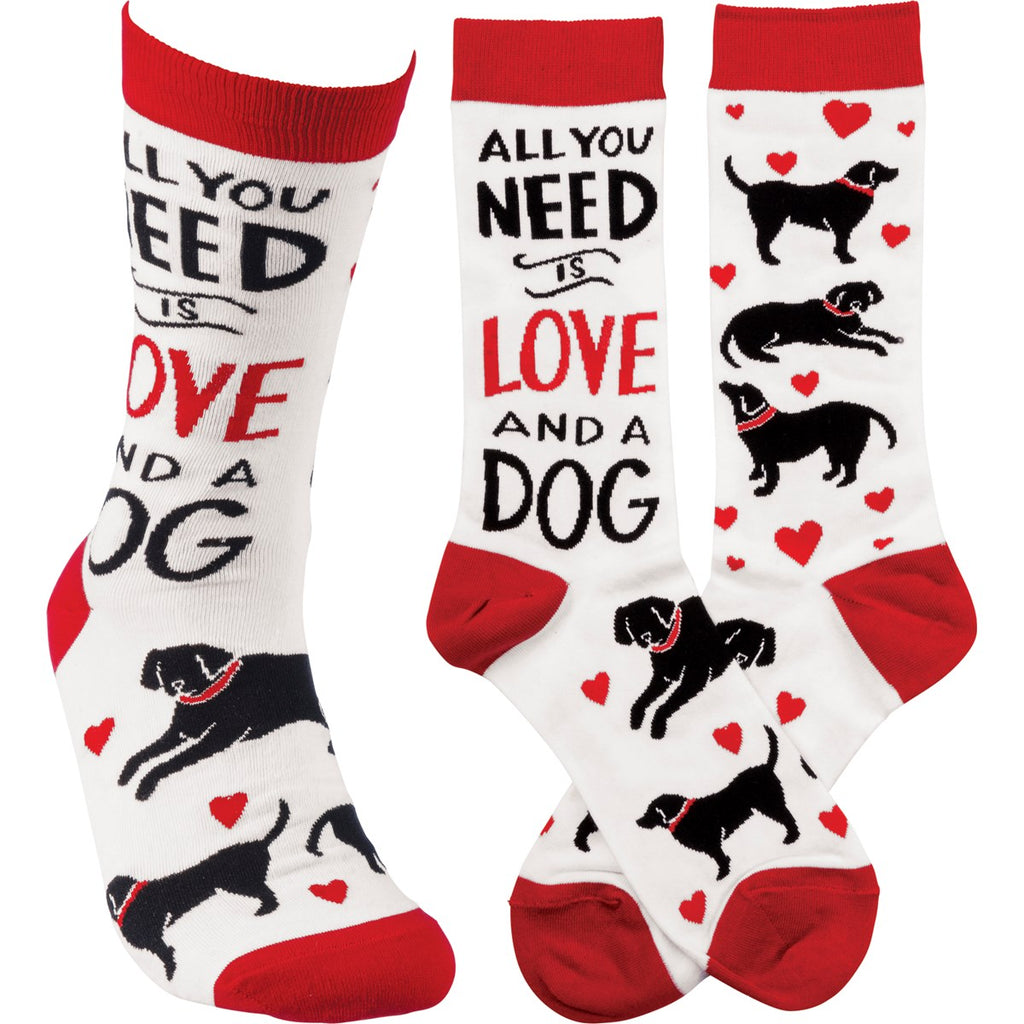 All you Need Is Love And A Dog Socks by Primitives By Kathy