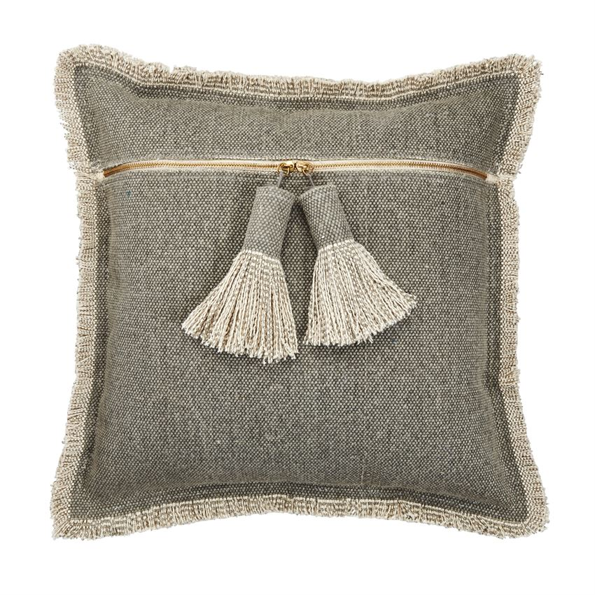 GRAY DHURRIE TASSEL PILLOW