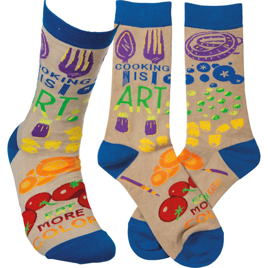 Cooking Is Art Eat More Color Socks by Primitives By Kathy