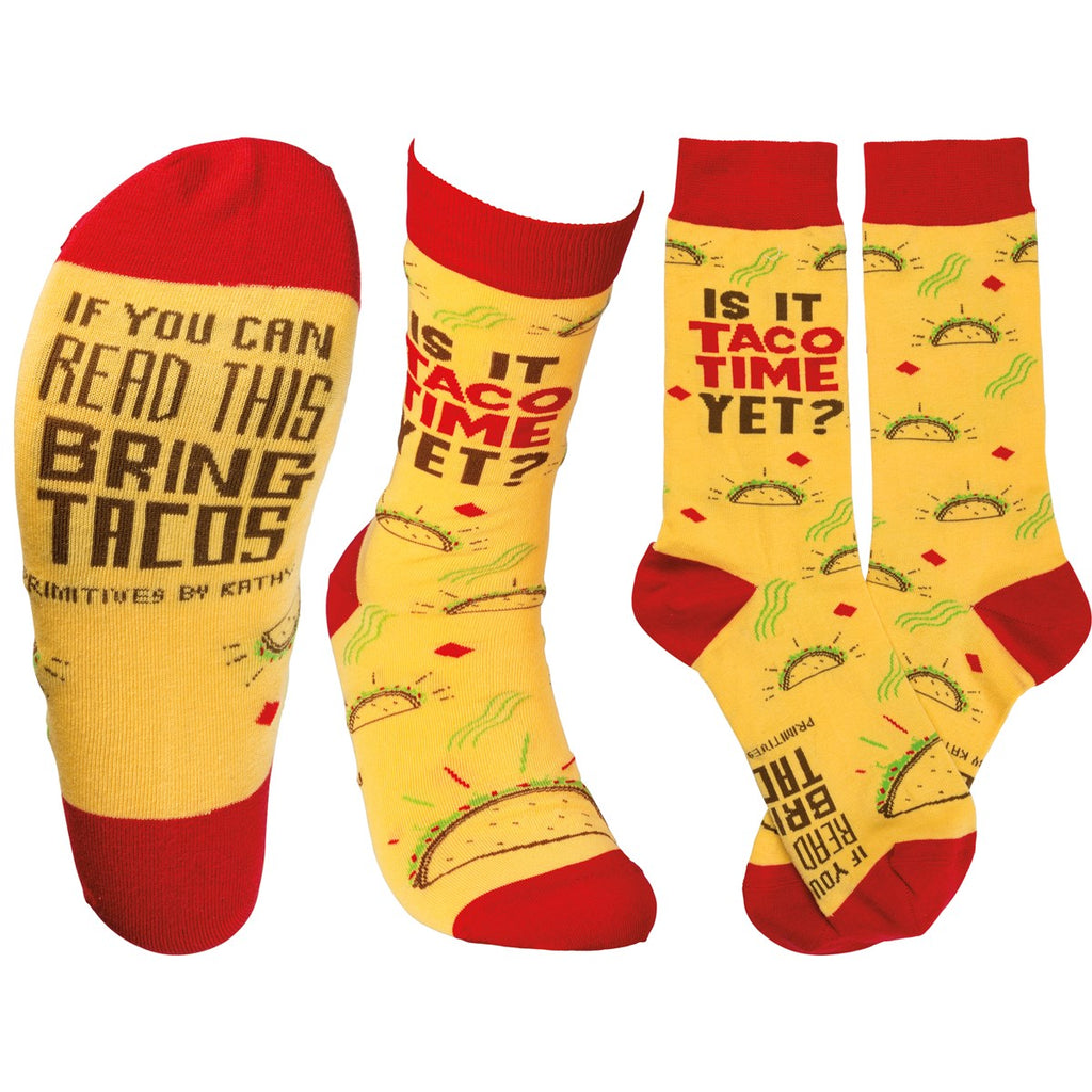 Is It Taco Time Yet? Socks by Primitives By Kathy