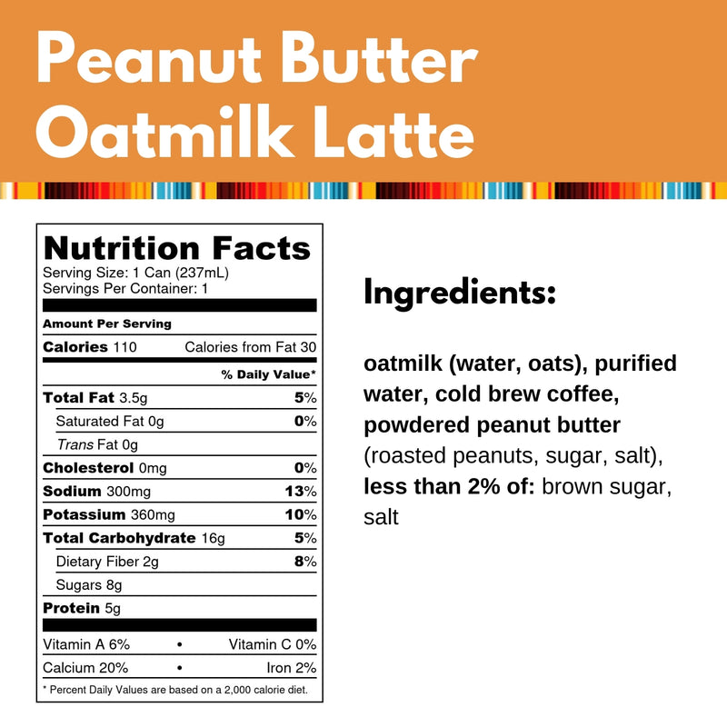 Peanut Butter Oatmilk Latte. Ingredients: oatmilk (water, oats), purified water, cold brew coffee, powdered peanut butter (roasted peanuts, sugar, salt), less than 2% of: brown sugar, salt