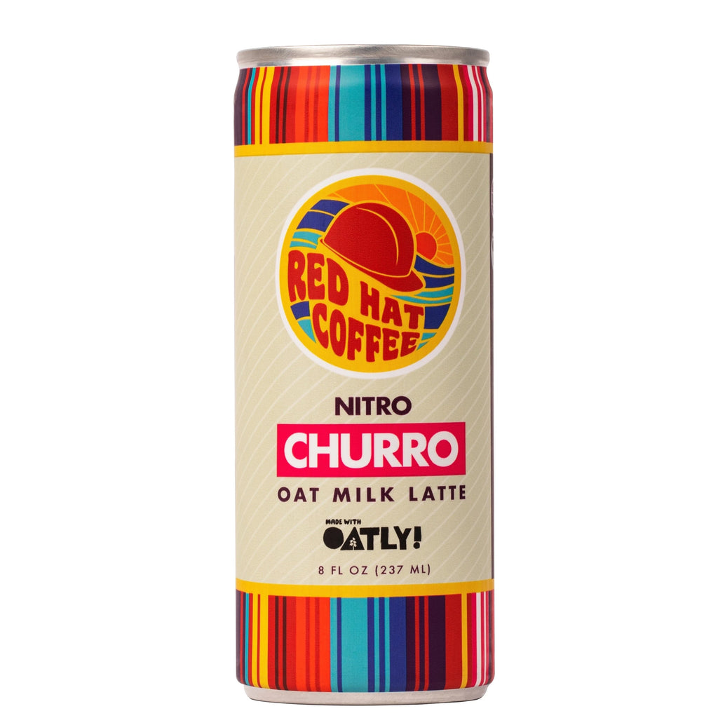Churro Flavor Red Hat Coffee Oat Milk Latte Made With Nitro Cold Brew Coffee And Oatly Oat Milk. Made With Dairy-Free, Gluten-Free, and All-Natural Ingredients