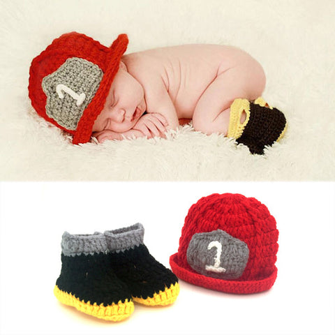 Baby Firefighter Crochet Outfit Hat & Boots