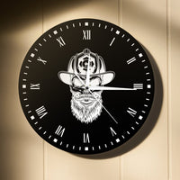 Firefighter Hipster Beard Wall Clock