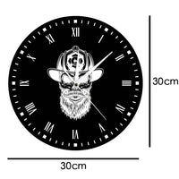 Firefighter Hipster Beard Wall Clock Black White