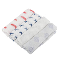 Soft, breathable Fire Truck and Dalmatian Baby Swaddle 4-Pack is made from natural bamboo fibers