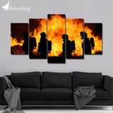 HD Print 5-Piece Canvas Firefighter Art with Frame Canvas Flame Black