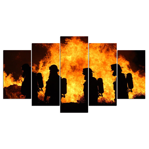 HD Print 5-Piece Canvas Firefighter Art with Frame Canvas
