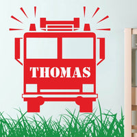 Personalized Name Fire Truck Firefighter Wall Sticker  Red