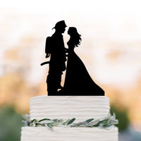 Firefighter Fireman Groom and Bride Wedding Cake Topper Black
