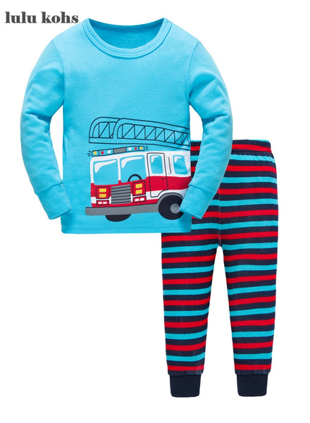 Children's Fireman Pajama Set - Unisex, cotton pajamas for your little future firefighter.