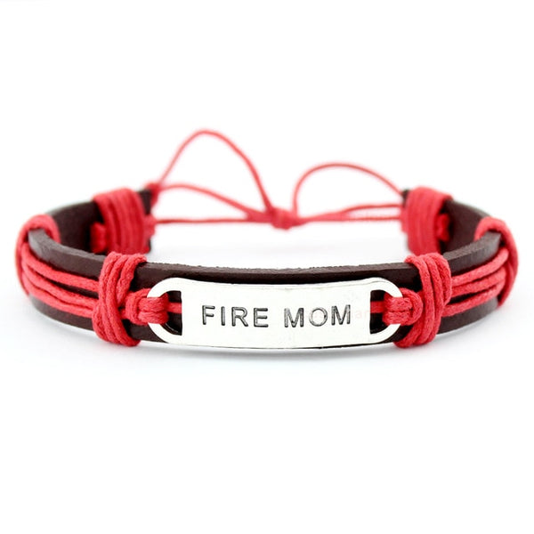 Fire Mom Firefighter Bracelet red brown silver