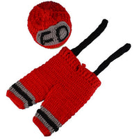 Newborn Fireman Firefighter Crochet Set red black gray wool newborn firefighter baby
